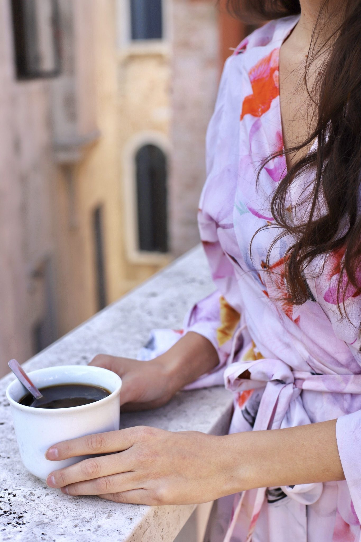 Best friends in Europe, Eurotrip, Venice, Venice Italy, European lifestyle, cute robes for bridesmaids, cute matching robes, floral robes, plum pretty sugar KIMONO STYLE. KNEE LENGTH ROBE. SHANGRI-LA., plum pretty sugar shangri-la kimono style robe, morning coffee, coffeenclothes