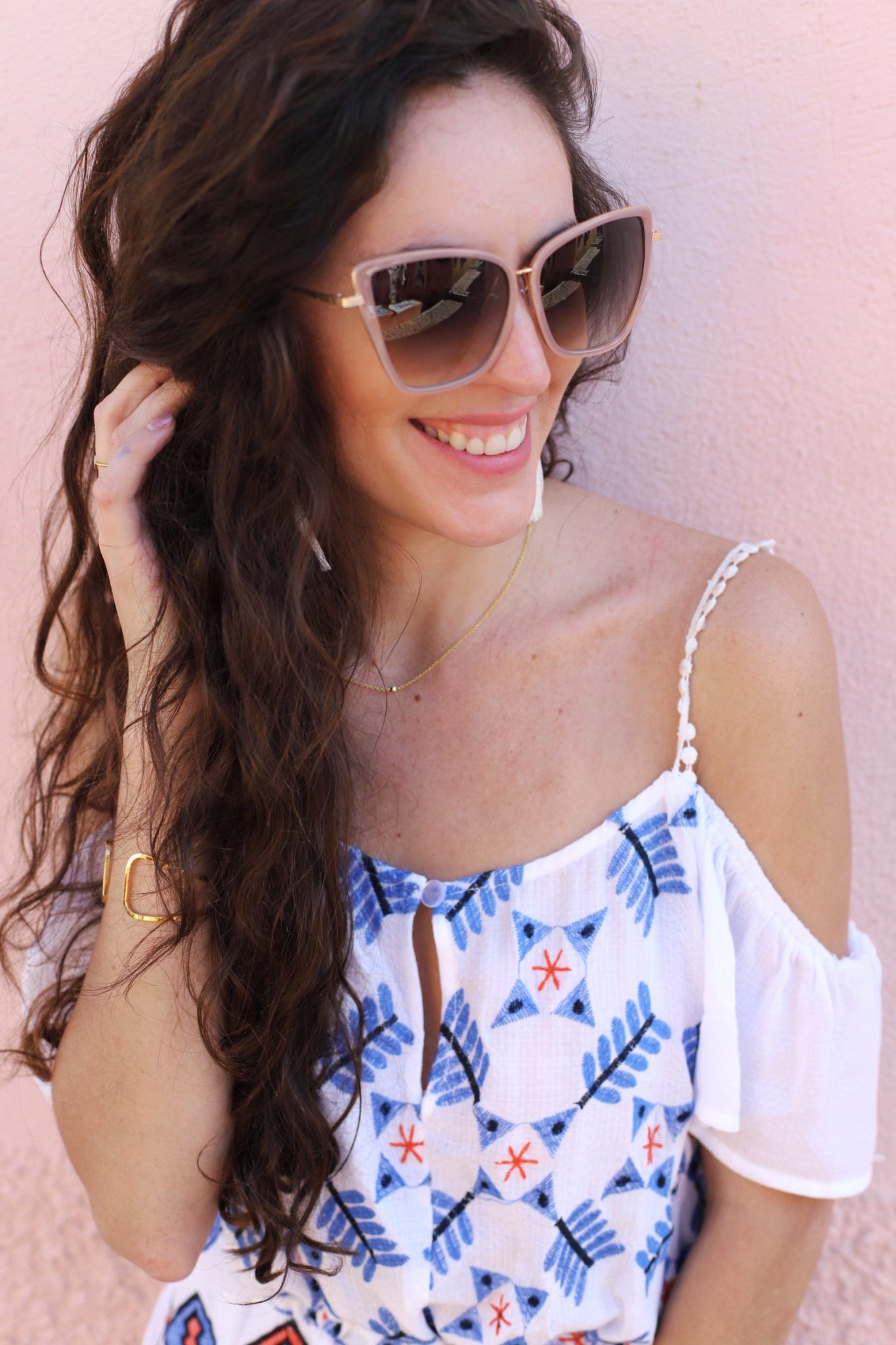 oia santorini, blue domes, where to go in oia, where to go in santorini, greece, south moon under ABBELINE EMBROIDERED SCOOP BACK COLD SHOULDER TOP, what to wear in santorini, white and blue outfit, summer outfit ideas, greece outfit ideas, travel style inspiration