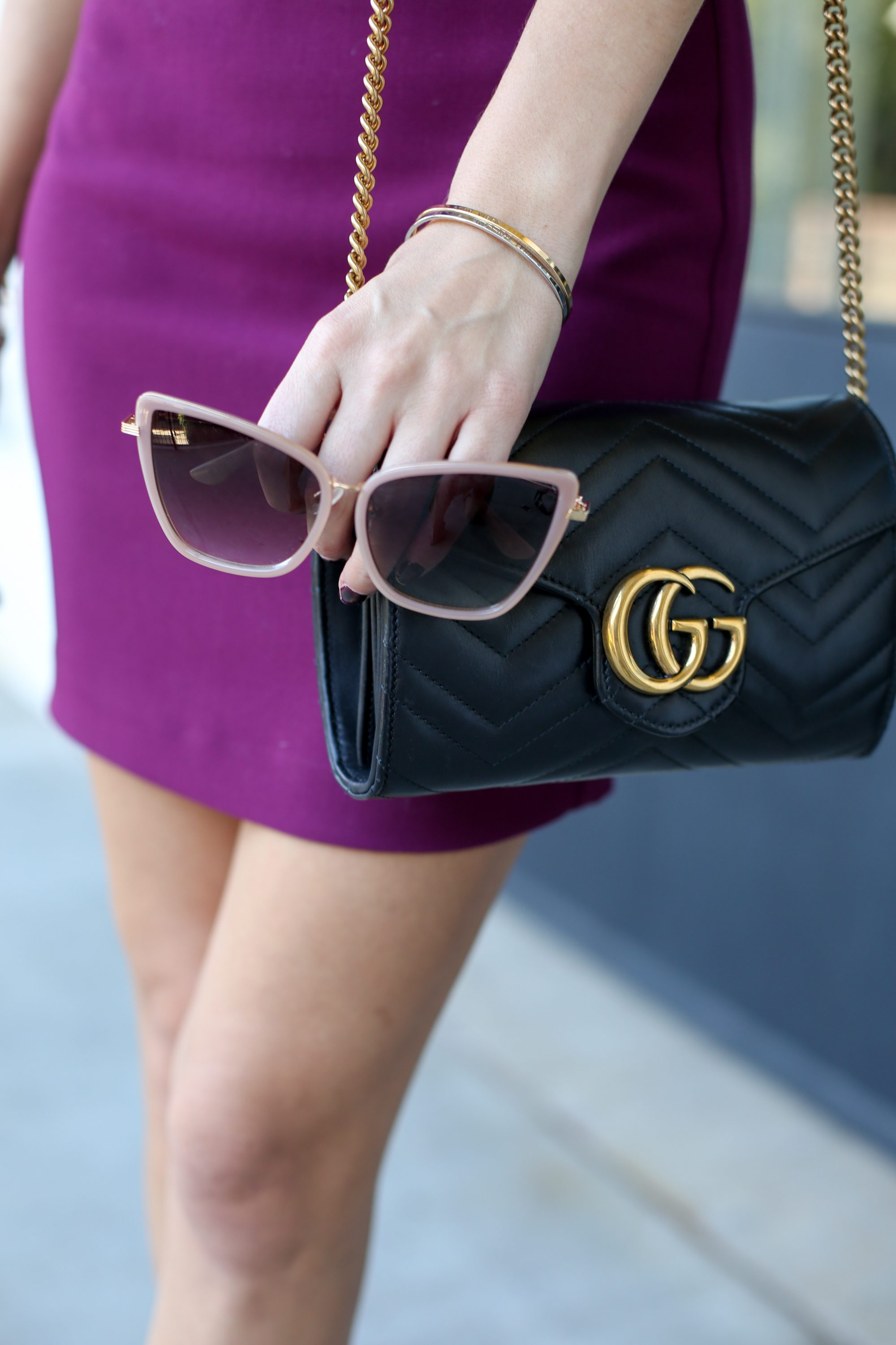 likely nyc manhattan dress, fall style, burgundy, maroon, garnet, wine, pink accents, gg marmont bag