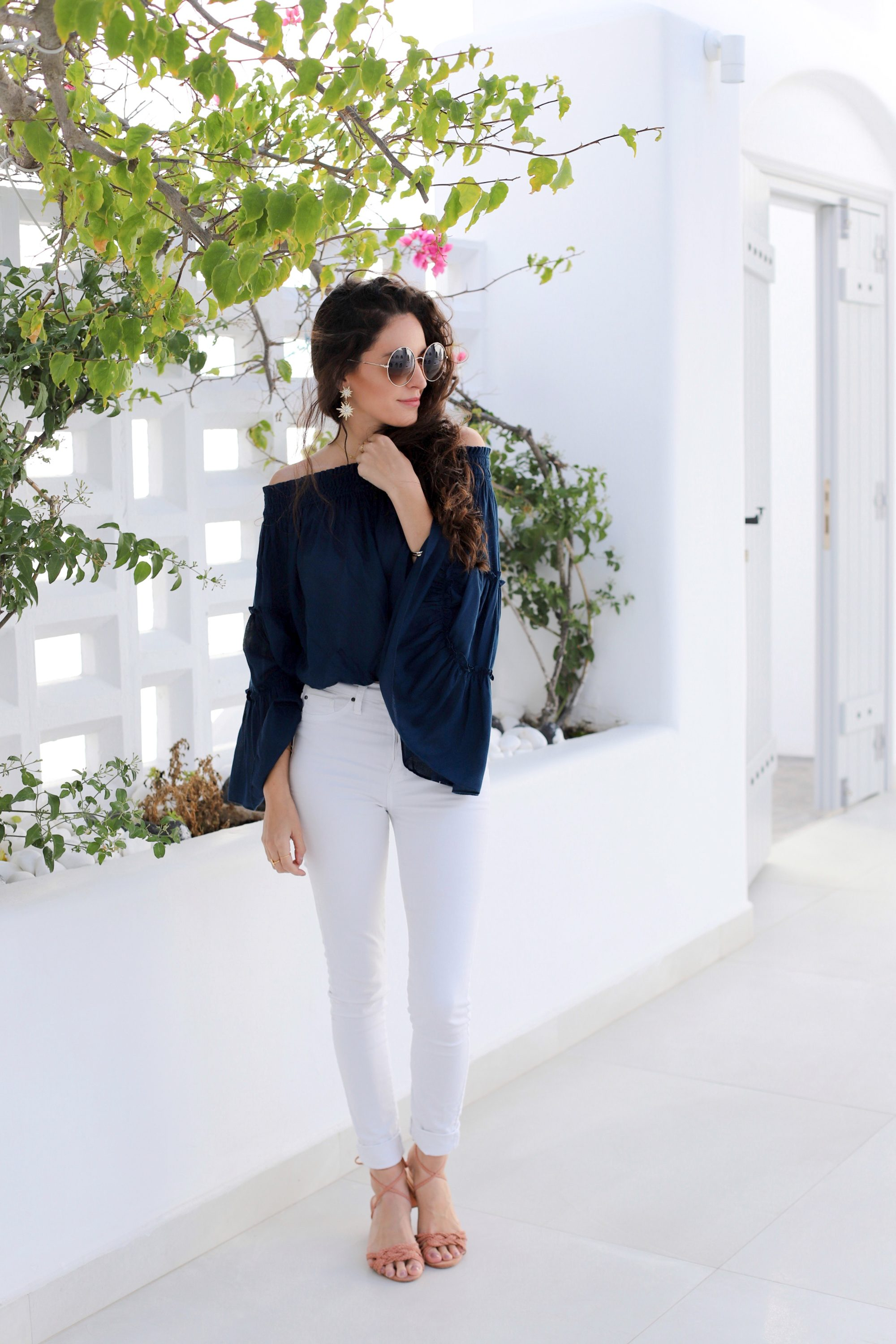 what to wear in santorini, schutz MARLIE SANDAL TOASTED, FREE PEOPLE FREE SPIRIT RUFFLE TIER OFF THE SHOULDER BLOUSE in turquoise, bell sleeves, off the shoulder top, blue and white, summer to fall outfit ideas