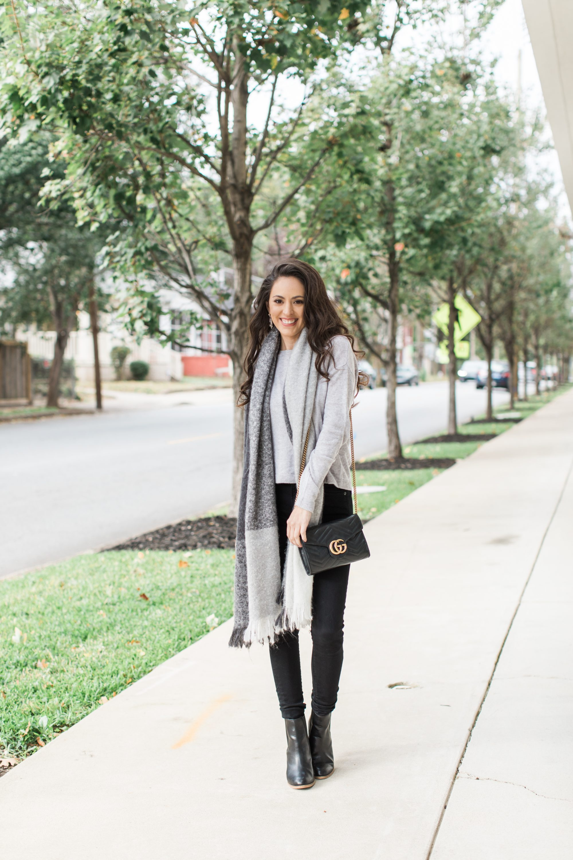 grey all day, grey scarf, grey sweater, gucci gg marmont, fall style, fall outfit ideas, winter style, winter outfit ideas