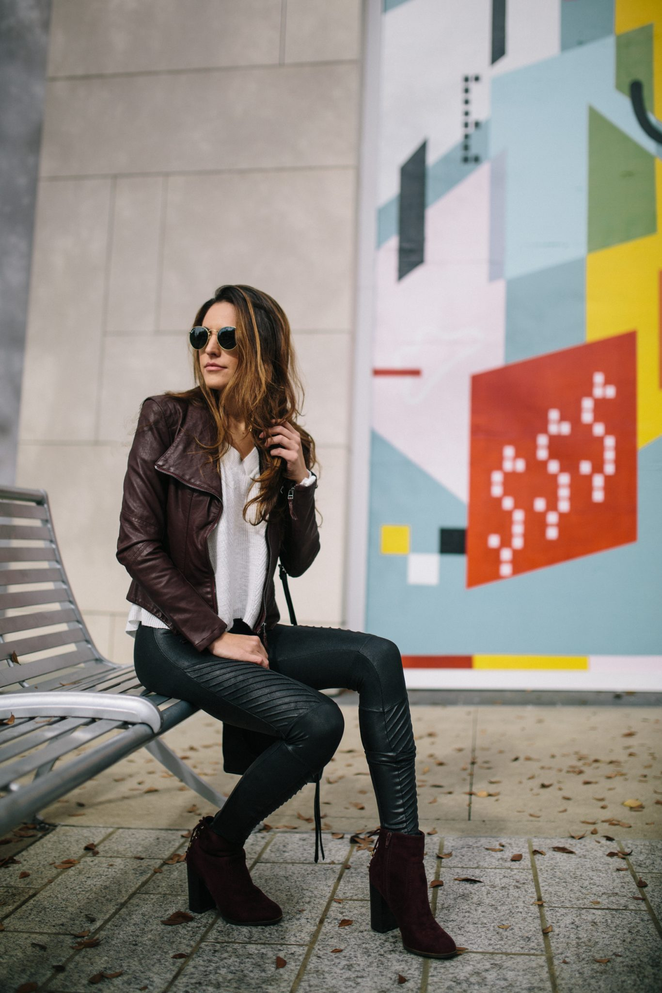 blanknyc faux leather jacket, spanx moto faux leather leggings, bell sleeve sweater, rebecca minkoff bag, rayban sunglasses, casual cool style