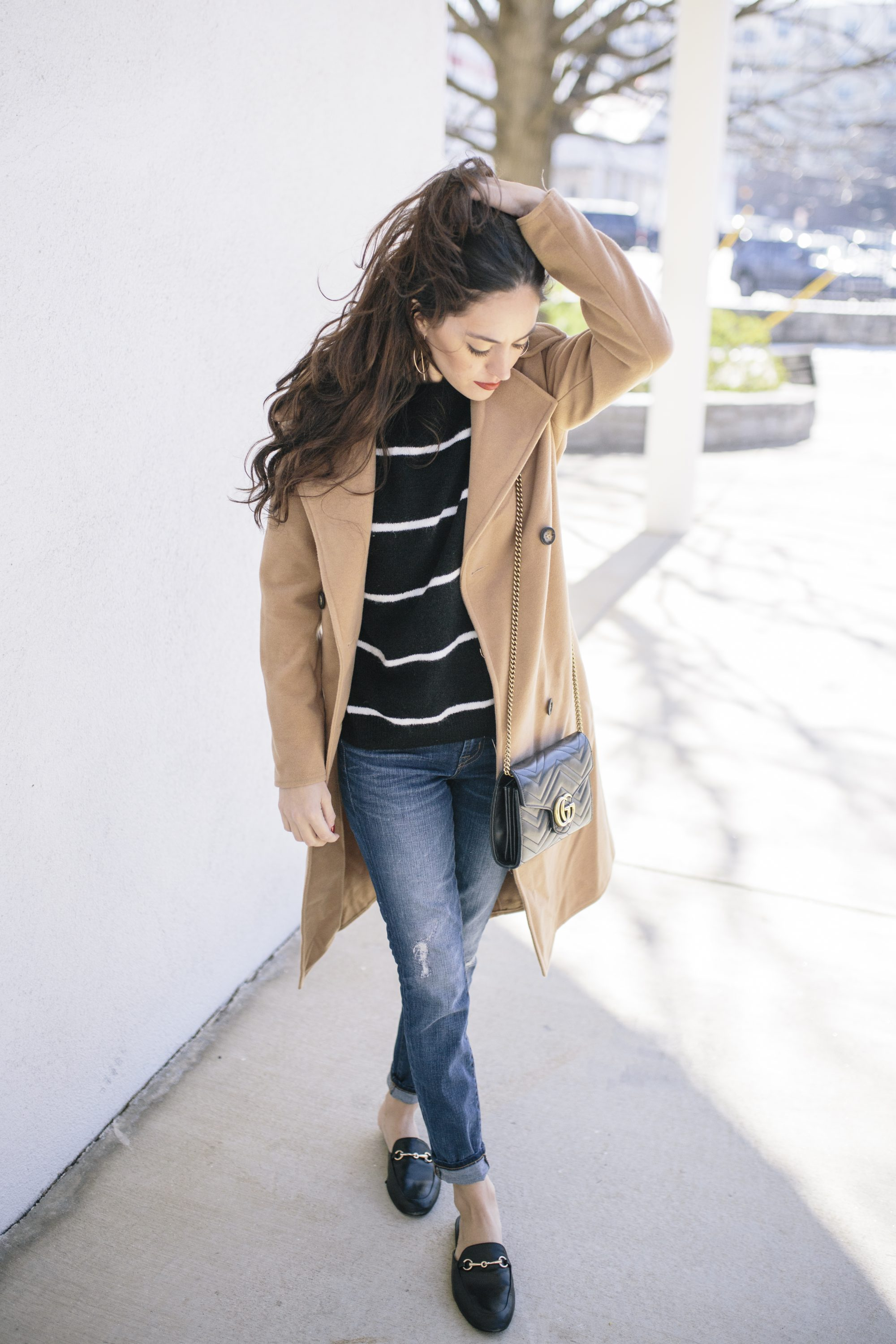 casual stripes, how to style stripes in the winter, casual winter outfit ideas, gucci marmont, j.crew toothpick denim, horsebit slides, tan trench coat, boohoo Petite Erin Belted Wool Look Robe Duster Coat