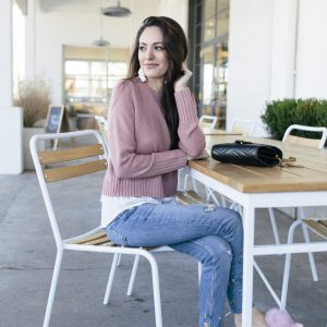 layered sweater, dusty rose, pink pouf flats, pink pointed toe flats, pink pointy toe flats, tassel earrings, floral denim, pink outfit ideas, casual style, spring style, spring outfit ideas, baublebar gabriela stud tassel earrings white, gucci marmont crossbody