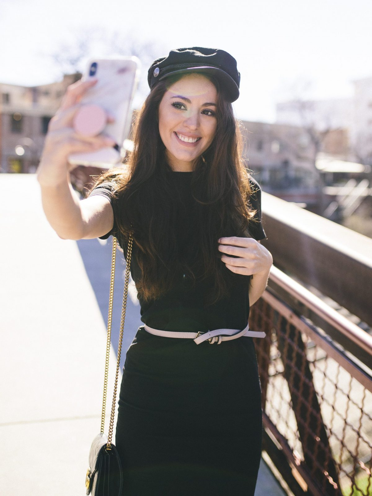 Gucci marmont, gg marmont, captain hat, hm captains cap, black tshirt dress, how to style a t shirt dress, how to wear a t shirt dress, trendy outfit ideas, jersey dress, bodycon day dress, bodycon tshirt dress