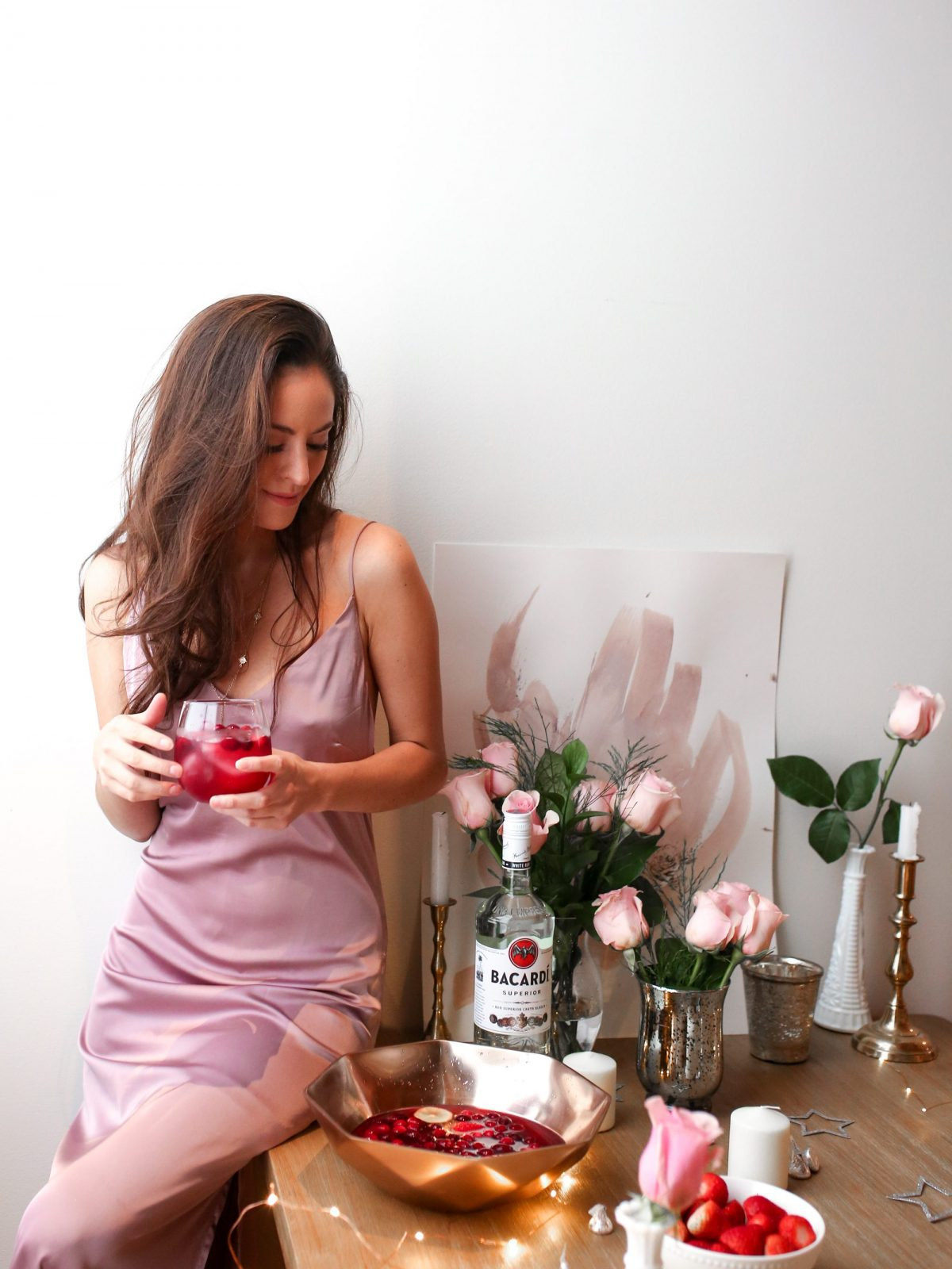galentines day party, party hosting, valentines day, wet seal satin slip dress in pink, girls night in
