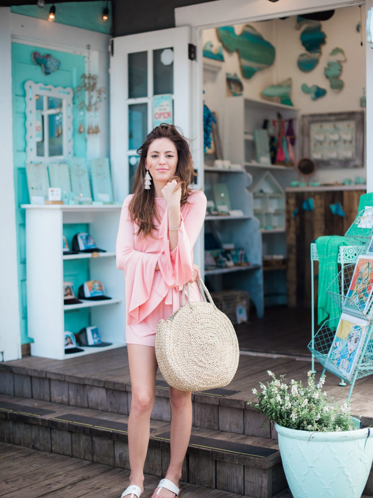 CLAYTON GEORGINA ROMPER, round woven bag large, paia, maui, how to pack light, how to travel with a carry on, straw bag