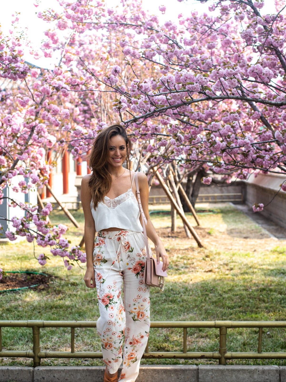 cherry blossoms in china, cherry blossoms in beijing, summer palace beijing, pretty places to take photos in beijing china, free people Sweet Carolina Cami, big round sunglasses cheap, spring outfit ideas, feminine outfits that are comfortable