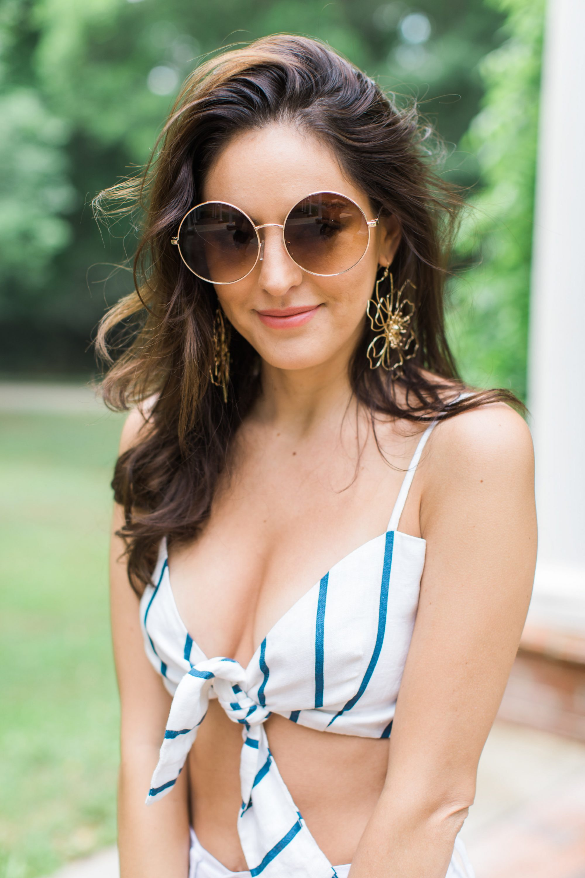 Baublebar Blossom Drop Earrings, FAITHFULL THE BRAND Garnier Top, spring outfit ideas, summer outfit ideas, what to wear for memorial day, what to wear for july 4, fourth of july outfit ideas, summer outfit inspiration
