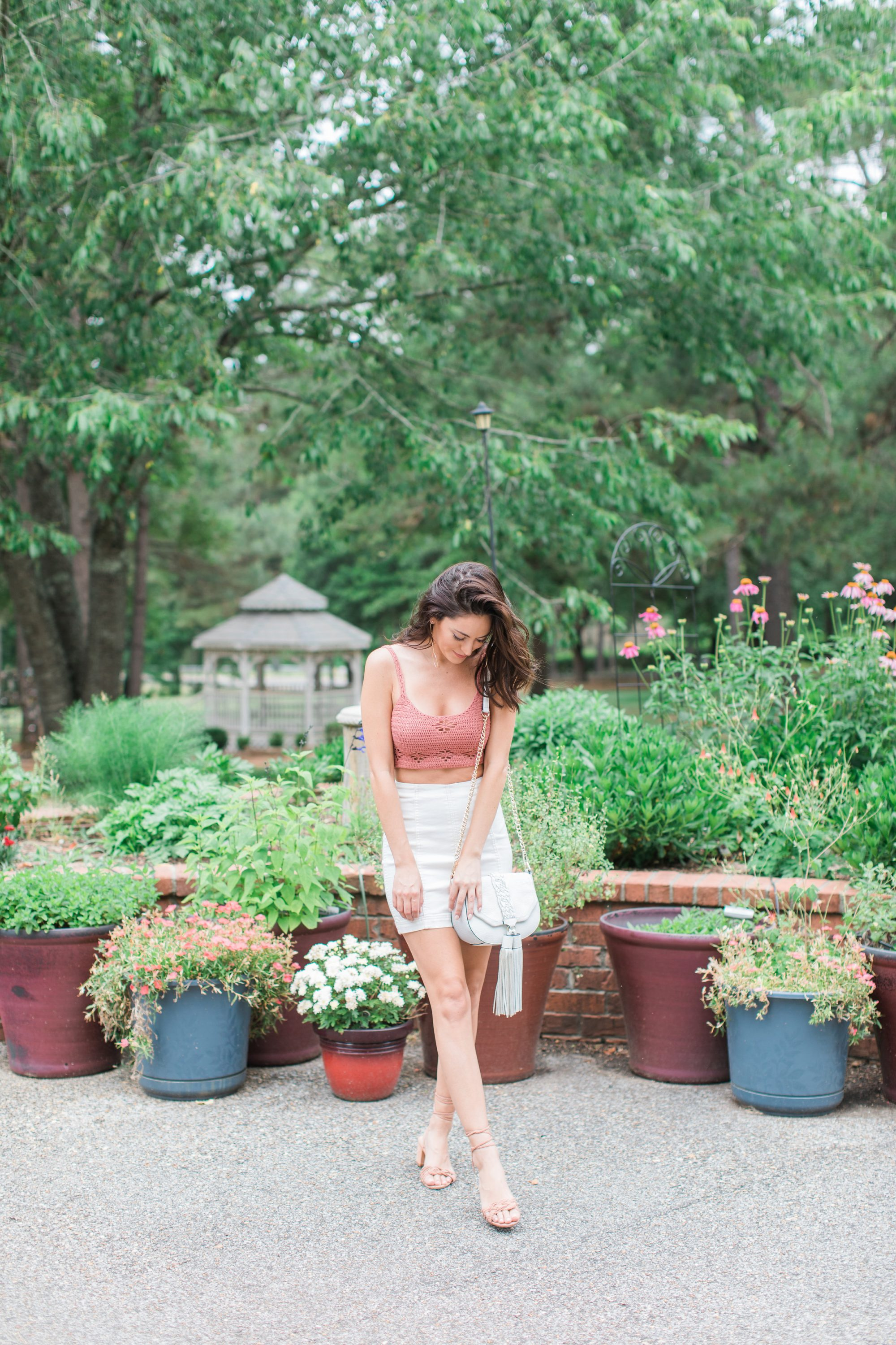 free people Berkinette Crochet Cami, free people Modern Femme Mini Skirt, Schutz Marlie toasted, spring outfit ideas, how to wear a crop top, summer outfits, how to wear tie up sandals, SUGARFIX by BaubleBar Drop Earrings with Hoops