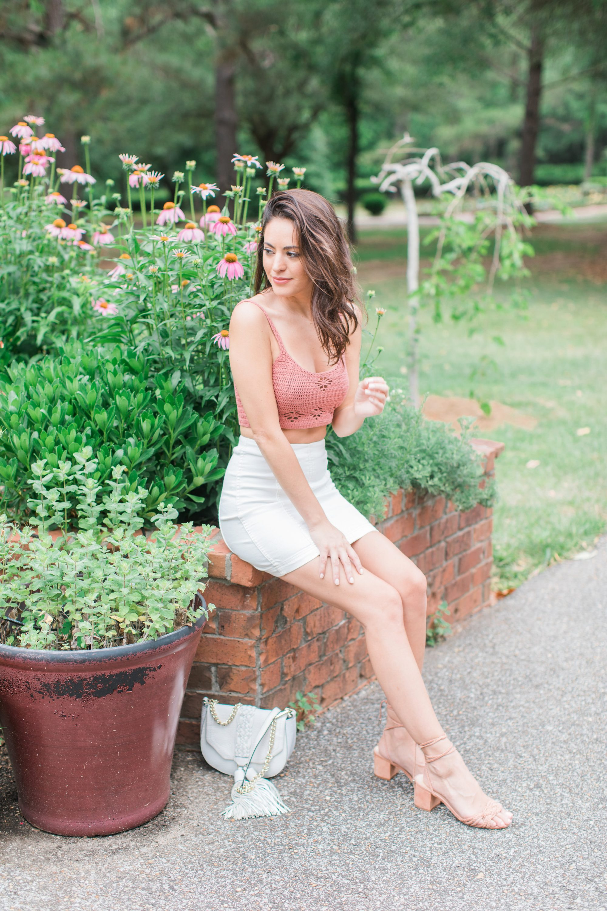 free people Berkinette Crochet Cami, free people Modern Femme Mini Skirt, Schutz Marlie toasted, spring outfit ideas, how to wear a crop top, summer outfits, how to wear tie up sandals
