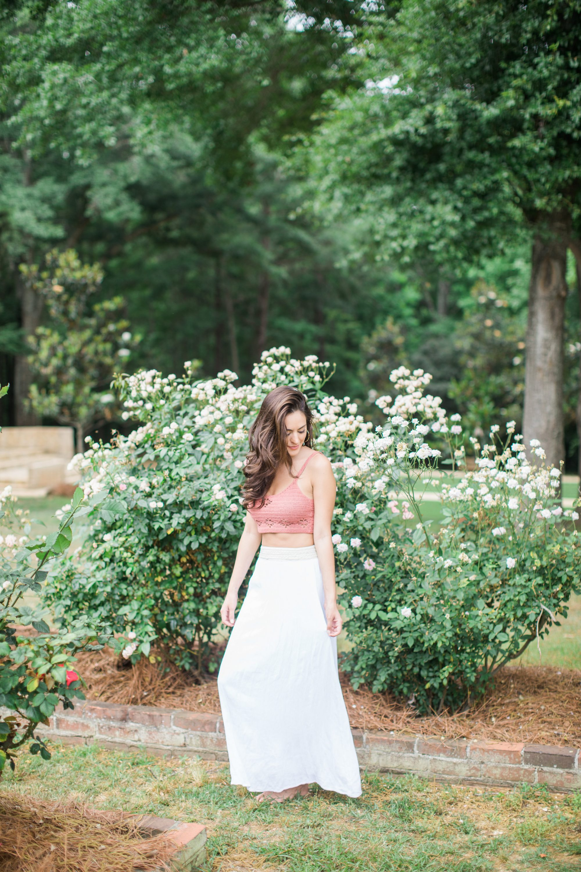 boho summer outfit ideas, white maxi skirt, how to style a crop top for summer, free people Berkinette Crochet Cami, SUGARFIX by BaubleBar Bold Hoop Earrings
