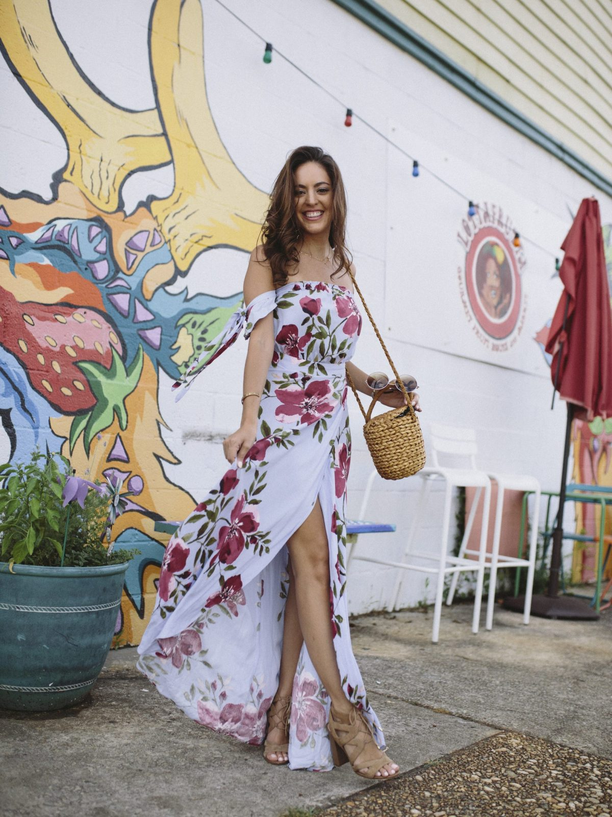 b801d24645 south moon under Abbeline Off Shoulder Floral Printed Maxi Wrap ...