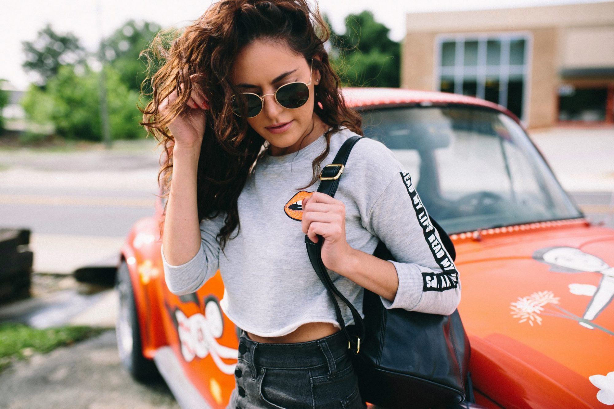 edgy summer look, how to style a cropped sweater, cool summer outfit ideas, grungy summer outfit ideas, how to wear a denim skirt, how to style a backpack as an adult, how to wear a cropped sweatshirt, hm Sweatshirt with Printed Design, Amazon HALE Women's Avri A-Line Mini Skirt