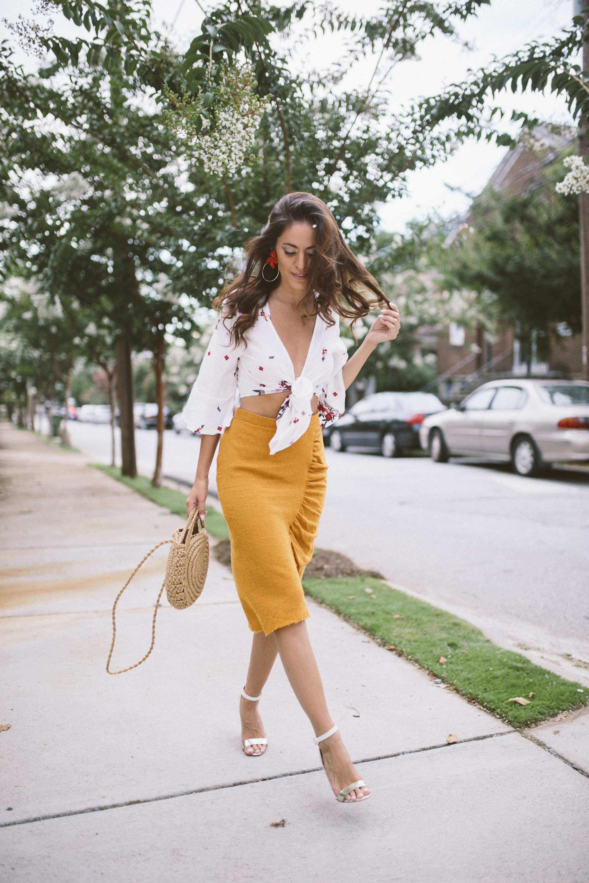 6284872681 linen pencil skirt, yellow pencil skirt, how to style a crop top, how