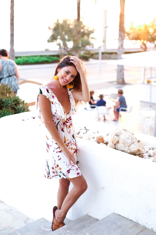 CLAYTON Ashwin Dress, summer in mallorca, summer dress, simple summer dress, beach coverup, tropical print dress, pink tropical print dress, open back summer dress, baublebar Sanchia Hoop Earrings