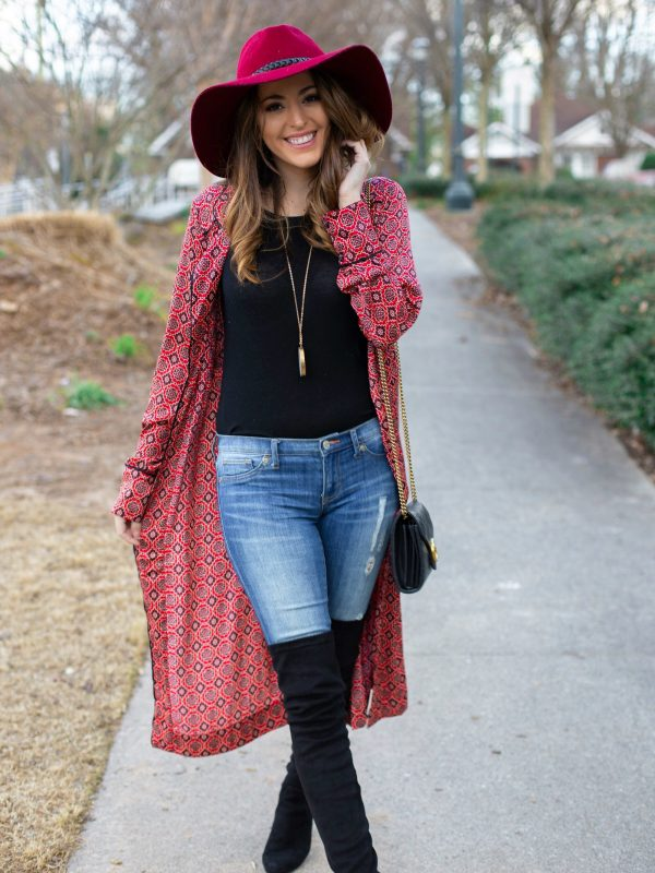 Free People Dawn To Dusk Printed Maxi Top, how to wear a kimono in the winter, sunday brunch at gypsy kitchen, sunday funday, what to do in Atlanta, how to wear red, boho style, how to wear over the knee boots, how to wear a floppy wool hat, wide brim fedora