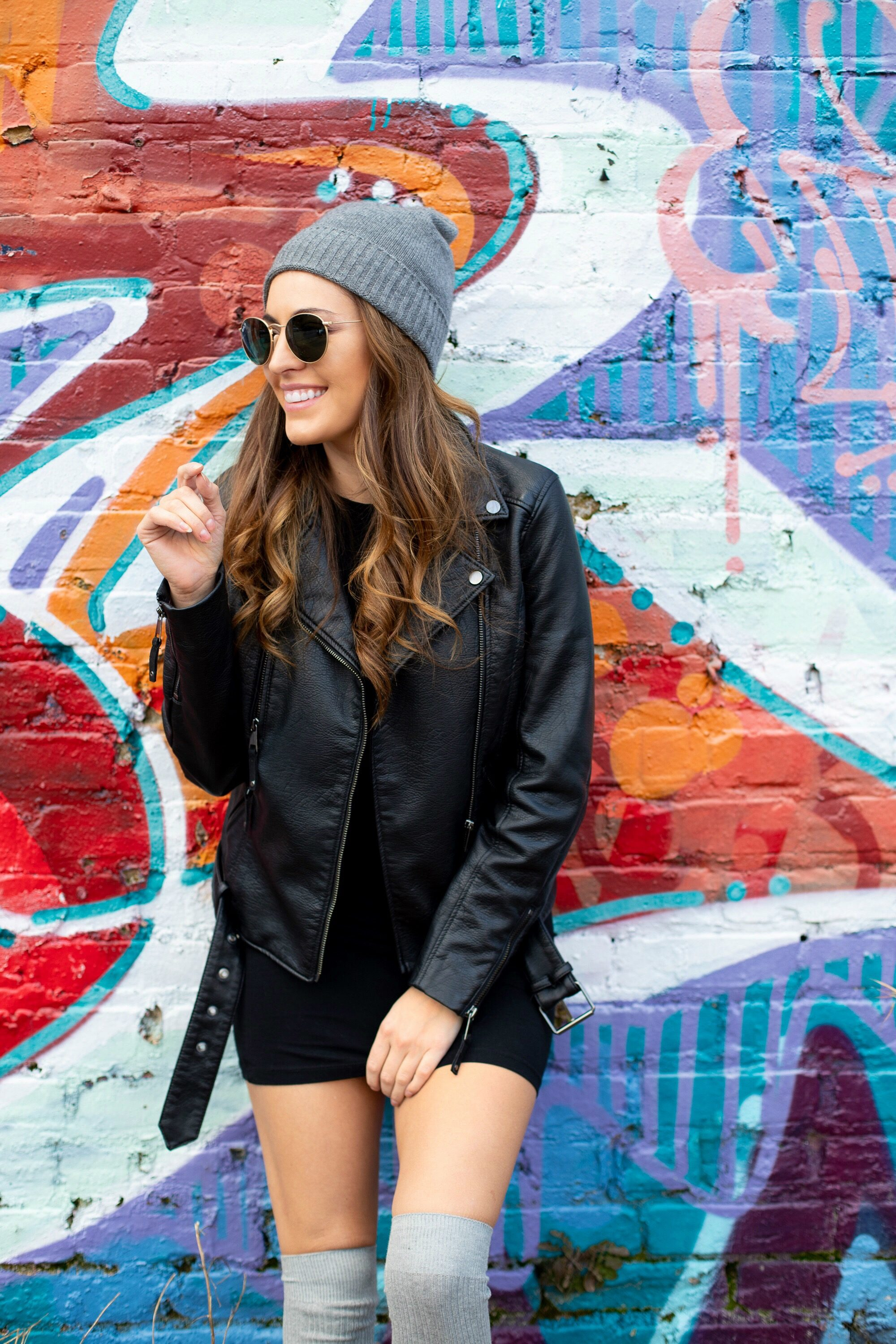casual cool winter outfit ideas, jacks pizza and wings, free people cashmere beanie, black tshirt dress, how to wear converse with a dress in the winter