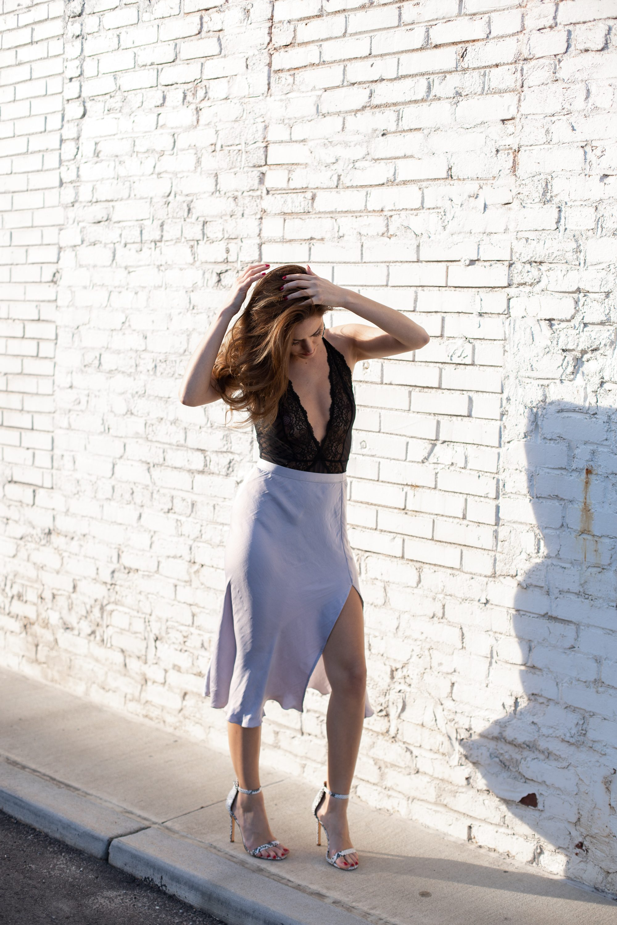 how to wear a lace bodysuit, free people Sweet Talker Half-Slip, spring style, winter to spring transition, feminine style, atlanta style blogger, how to wear a midi skirt, how to style a silk midi skirt