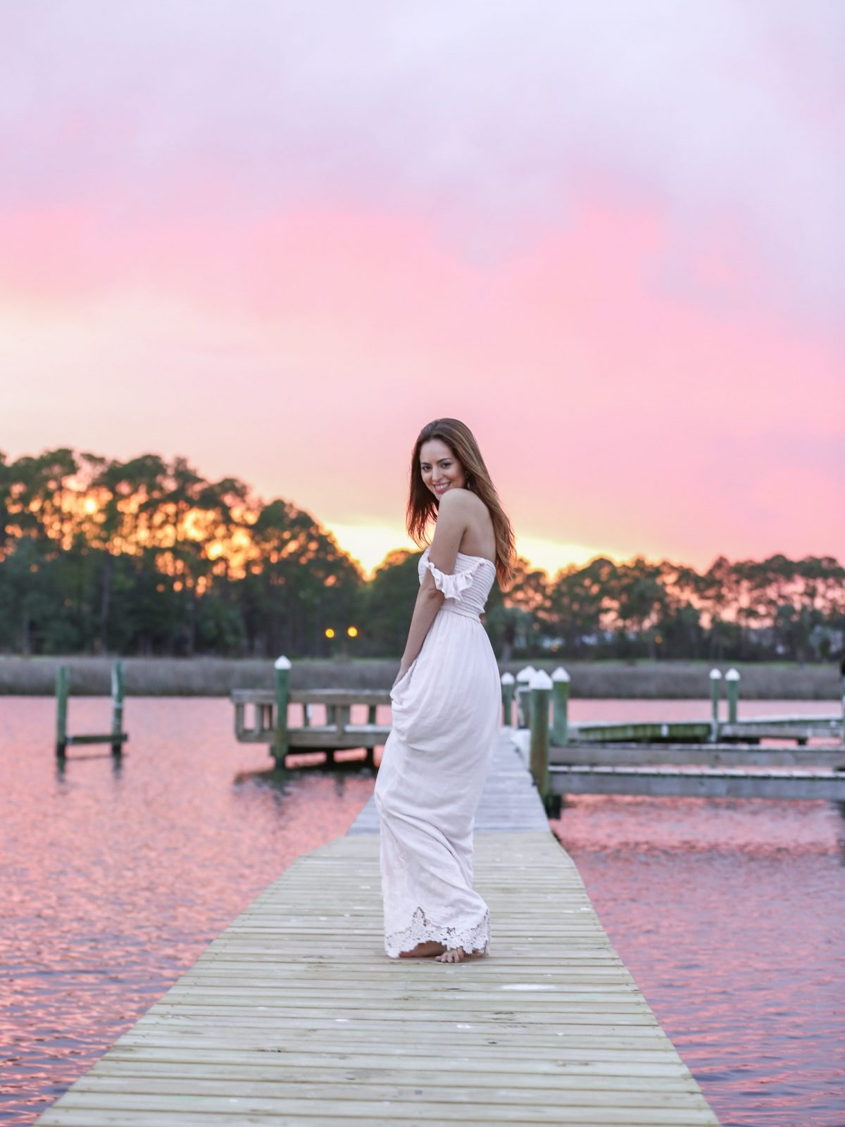golden hour, pink magic, cotton candy skies, pink sky, plum pretty sugar honor dress in sunset