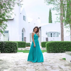 alys beach, 30a, green silk maxi dress, beach glamour, beach luxe, resort wear