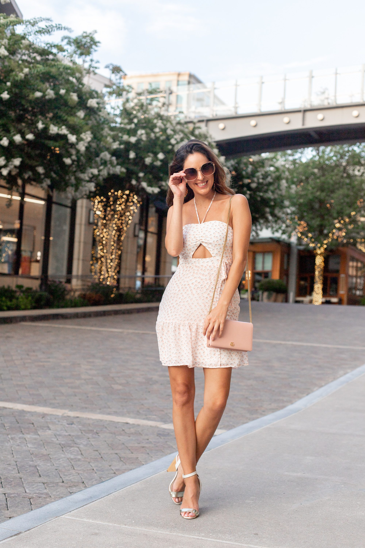 61a597cdb express printed halter tie wrap front mini dress, perfect summer dress,  pink polka dot