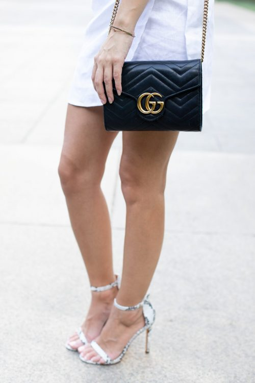 the perfect summer date night dress, the reformation MARSEILLES DRESS, midtown atlanta bulla gastrobar, gucci GG Marmont Matelassé Leather Wallet on a Chain black, snakeskin stiletto, summer date night outfit ideas