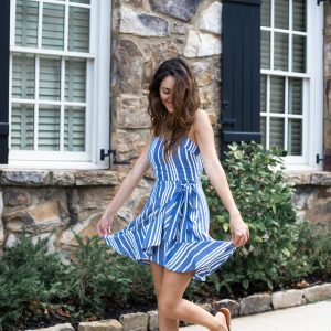 express Striped Square Neck Ruffle Front Wrap Dress, blue striped dress, summer outfit ideas, feminine summer outfit ideas, what to wear in the summer