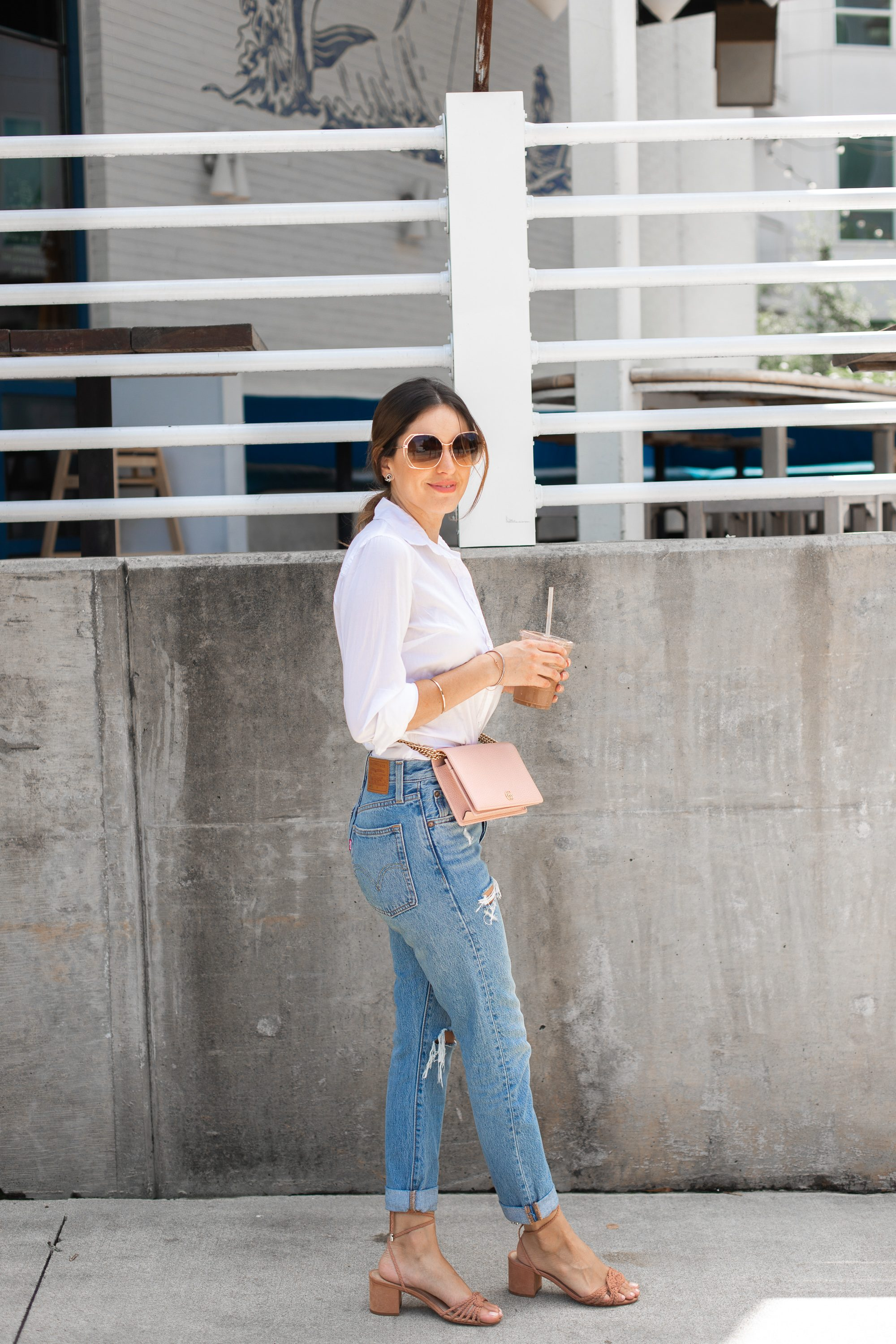 business casual, weekend style, how to style mom jeans, waist bags, belt bag, how to wear ripped jeans to work, casual style, wearing jeans to a business meeting, blogger style, pink gucci crossbody, Levis Womens 501 Skinny Jeans Cant Touch This Blue, best jeans on amazon