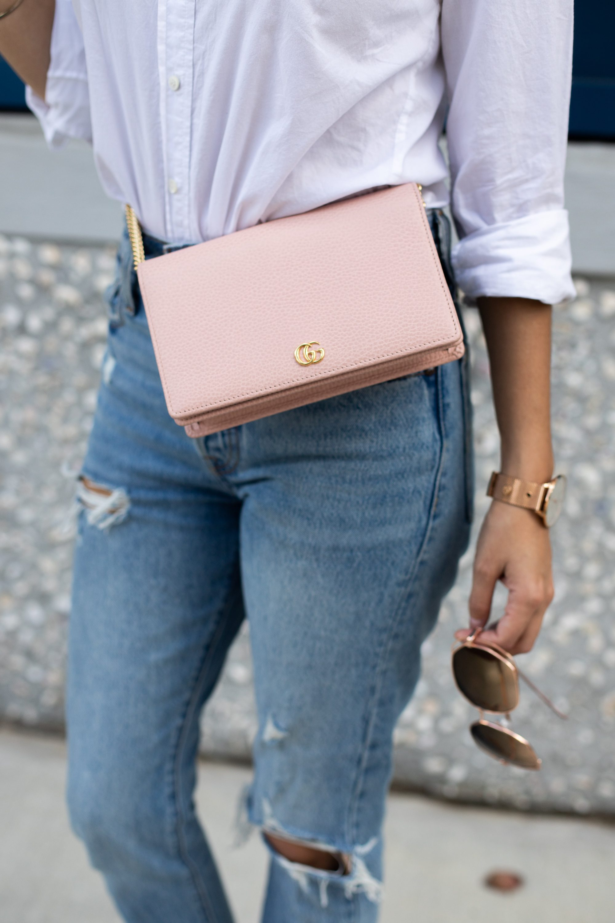business casual, weekend style, how to style mom jeans, waist bags, belt bag, how to wear ripped jeans to work, casual style, wearing jeans to a business meeting, blogger style, pink gucci crossbody, Levi's Women's 501 Skinny Jeans Can't Touch This Blue, best jeans on amazon