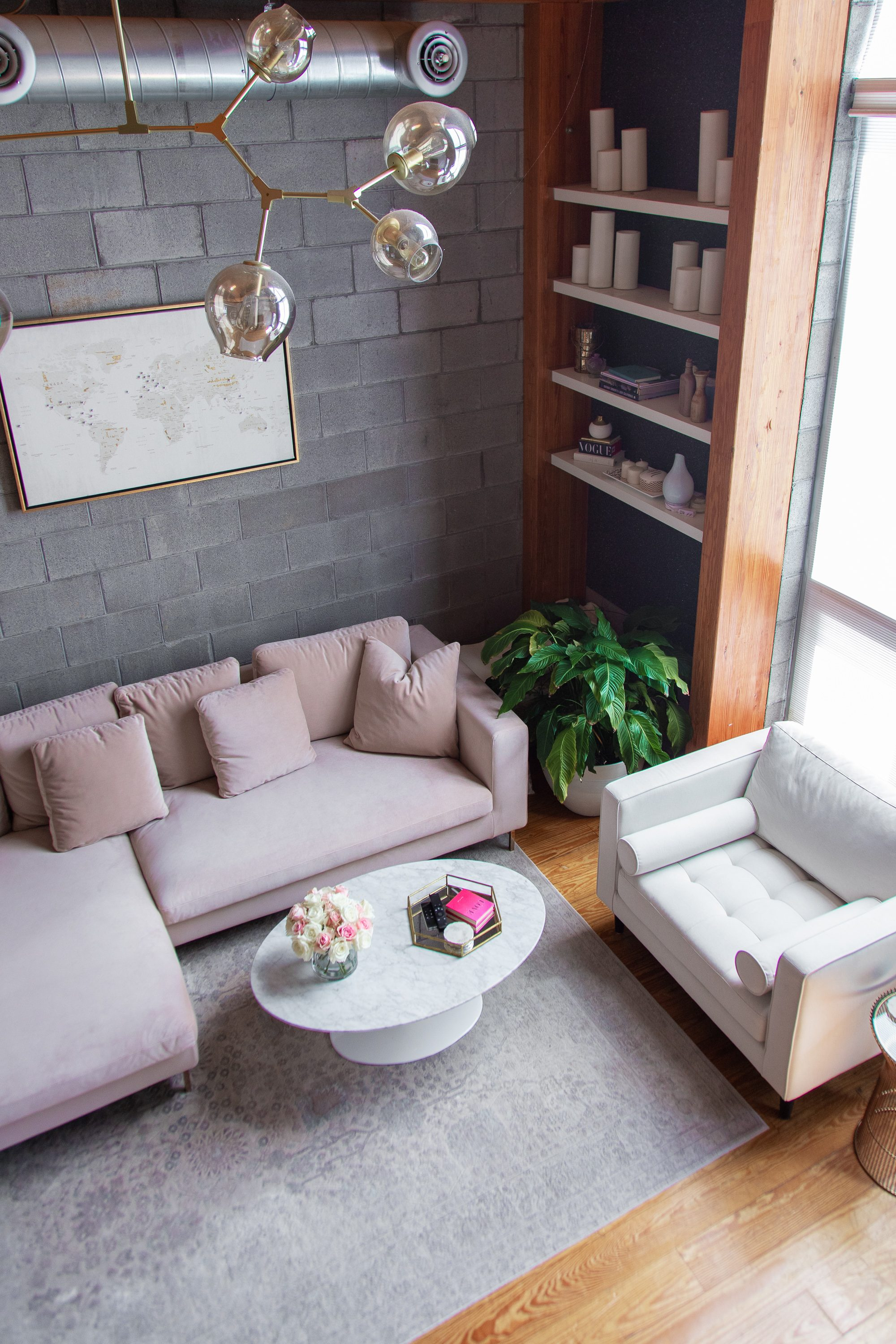 living room makeover, living room reveal, blush pink couch, rove concepts hugo sectional pink, rove concepts luca chairs white, rove concepts marble coffee table, rove concepts petal side table, rove concepts coupon code, rove concepts reviews, feminine living room style, living room before and after