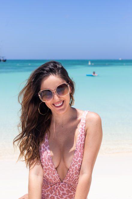 pink leopard swimsuit, aruba marriott stellaris, chasing summer, shopbop Tori Praver Swimwear Andie One Piece, chic resort wear, what to wear on vacation