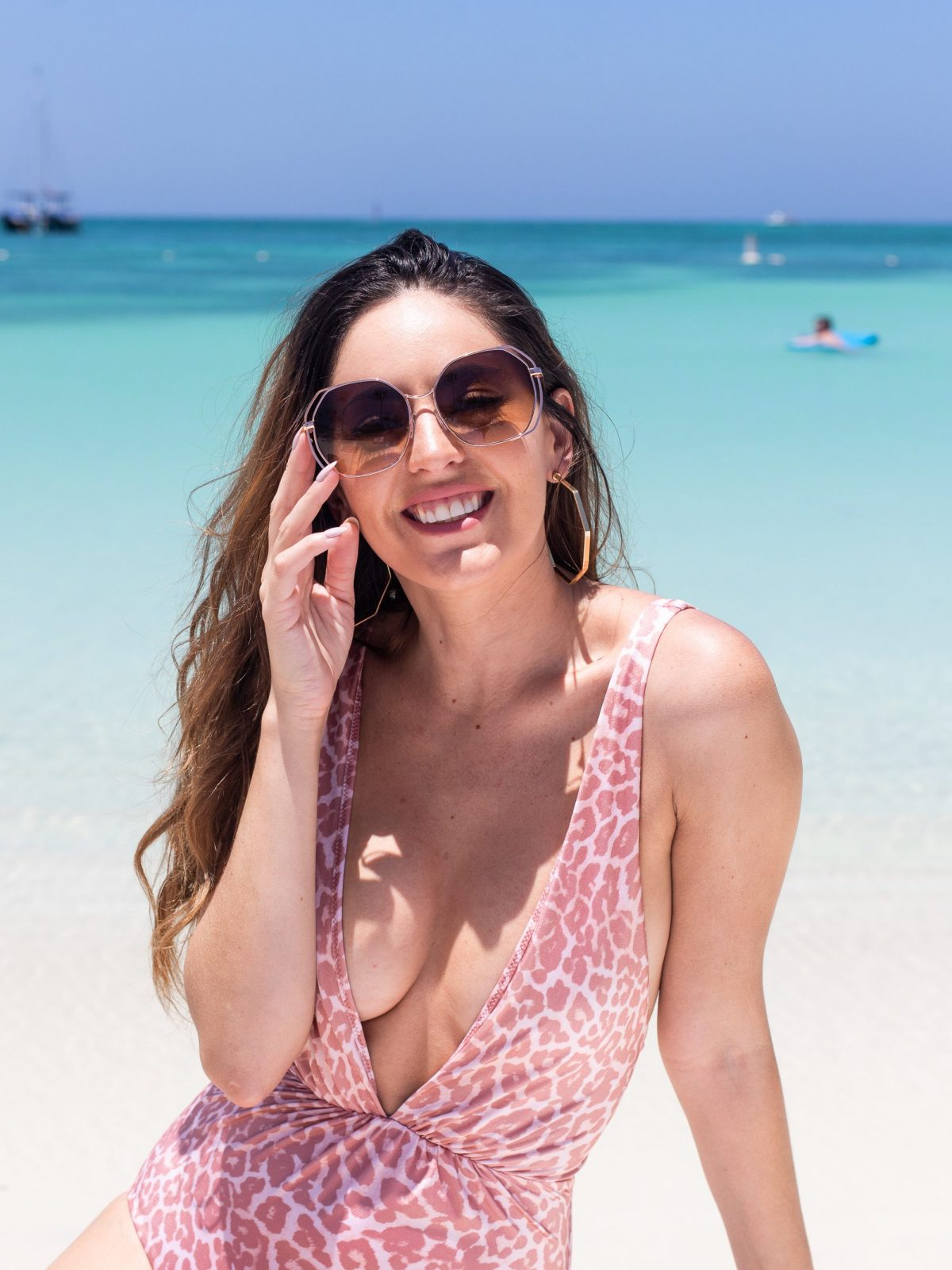 pink leopard swimsuit, aruba marriott stellaris, chasing summer, shopbop Tori Praver Swimwear Andie One Piece, chic resort wear, what to wear on vacation