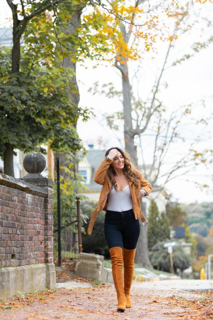 fall in new england, fall outfit ideas, fall looks, how to wear over the knee boots, otk boots, tan jacket, tan moto jacket, fall in boston, Massachusetts