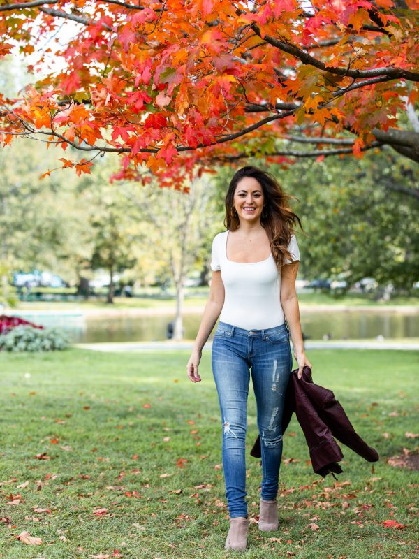 boston public garden, fall outfit ideas, what to wear in the fall, wine leather moto jacket, ripped skinny jeans, the best booties for fall, casual fall outfits