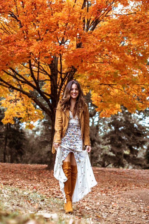 How to Wear a Summer Dress Into Fall, free people maxi dress, fall outfit ideas, summer dress in the fall, otk boots, over the knee boots, fall style, what to wear for fall, bb dakota jacket, goodnight macaroon over the knee boots styled