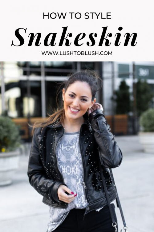 Luxury travel & lifestyle blogger, Megan Elliot at Lush to Blush shares how to style a beautiful snakeskin top. Snakeskin is a top trend this season and you can wear it in a casual look!