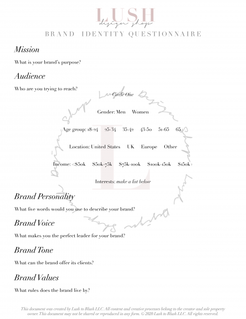 Brand Identity Questionnaire Printable