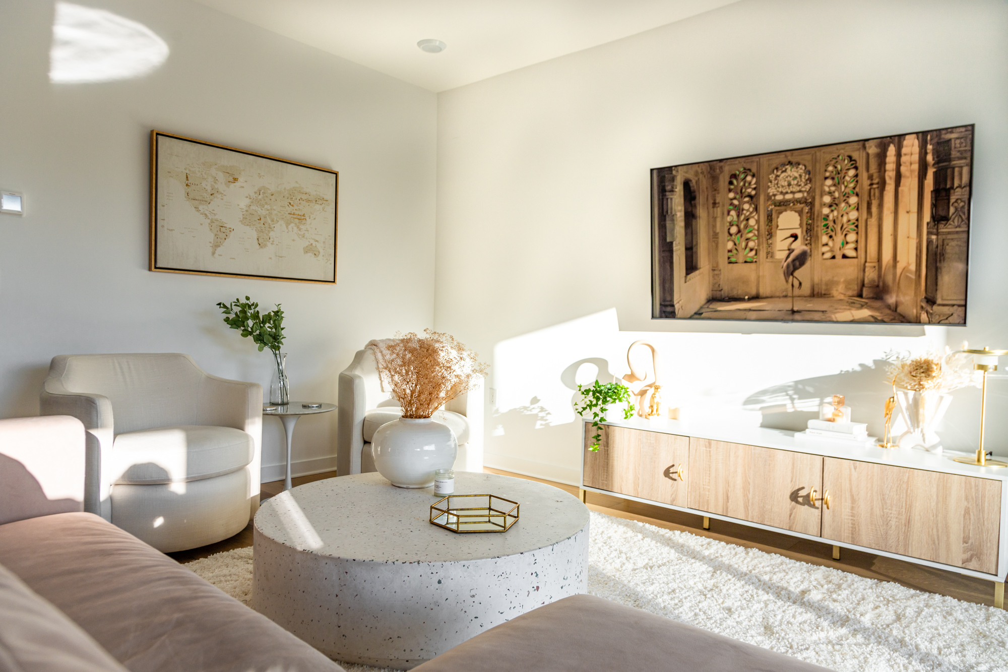transitional style home decor, blush pink couch, rove concepts, frontgate, terrazzo coffee table, gold accents, best home decor stores