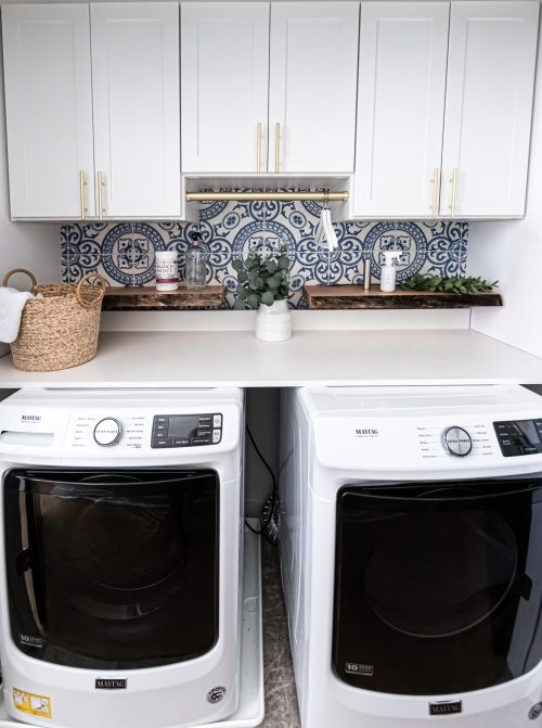 laundry room makeover, laundry room renovation, laundry room upgrade, laundry room inspiration, milton and king wallpaper review, ultra shelf maple live edge floating shelf