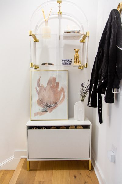 small entryway solutions, shoe storage solutions, midcentury modern entryway decor, transitional home decor
