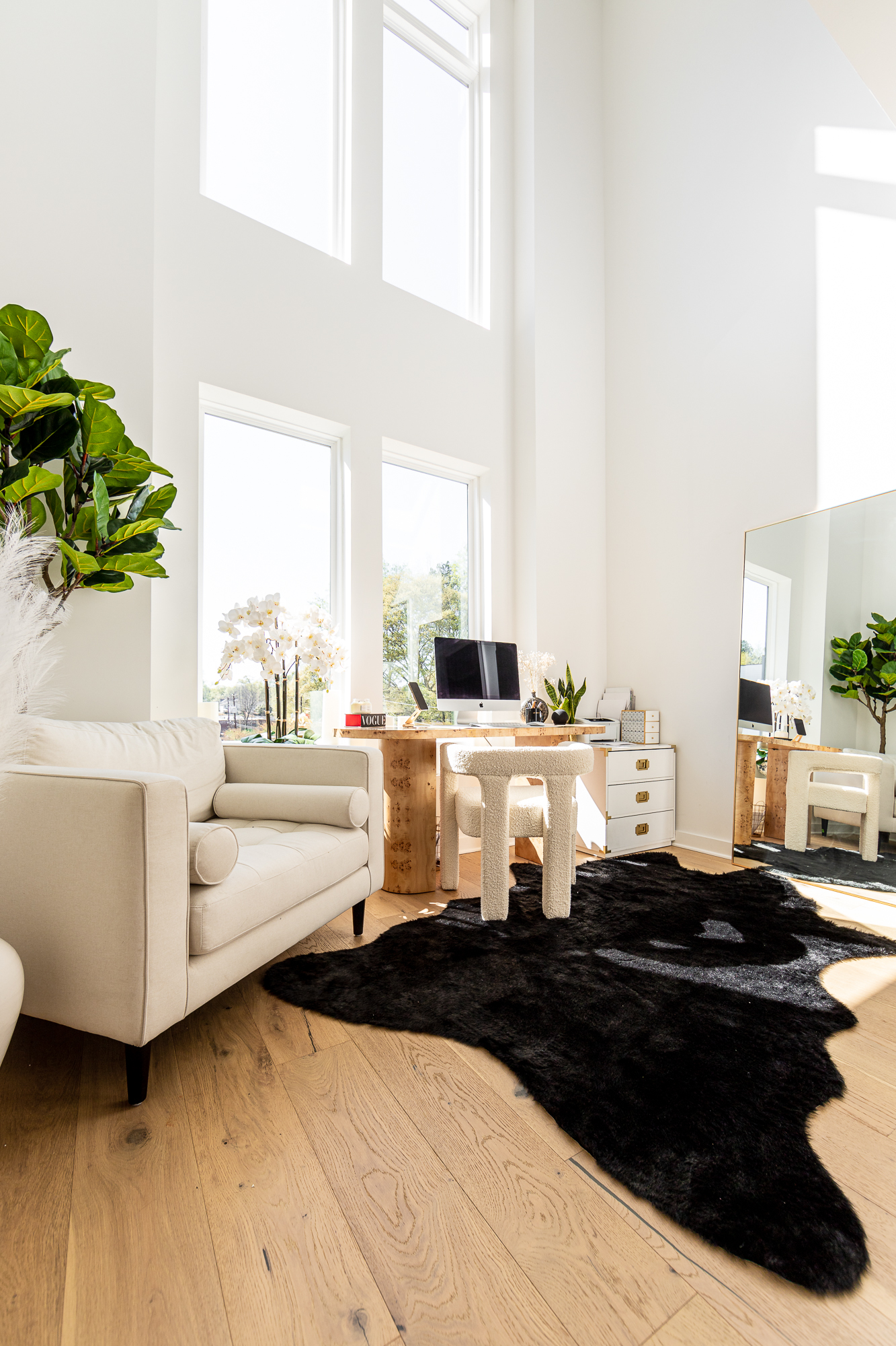 feminine home office ideas, feminine home office decor, burlwood desk, burl desk, boucle dining chair, boucle office chair, white home office, creative home office ideas