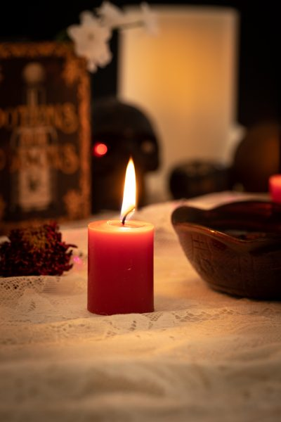 diy halloween decor, dollar tree decor, witchy halloween decor, red themed halloween decor, purple halloween decor
